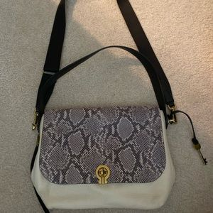 Fossil Snake print and white leather satchel bag